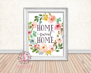 Home Sweet Home Boho Watercolor Floral Printable Print Wall Art Home Decor