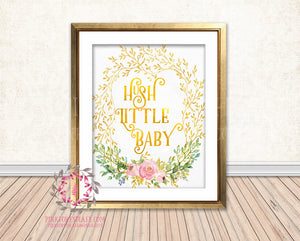 Hush Little Baby Gold Foil Boho Woodland Floral Nursery Baby Girl Room Printable Print Wall Decor