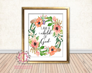 graphic regarding I Am a Child of God Printable identify I Am A Youngster Of God Boho Watercolor Printable Wall Artwork Print Nursery Household Decor