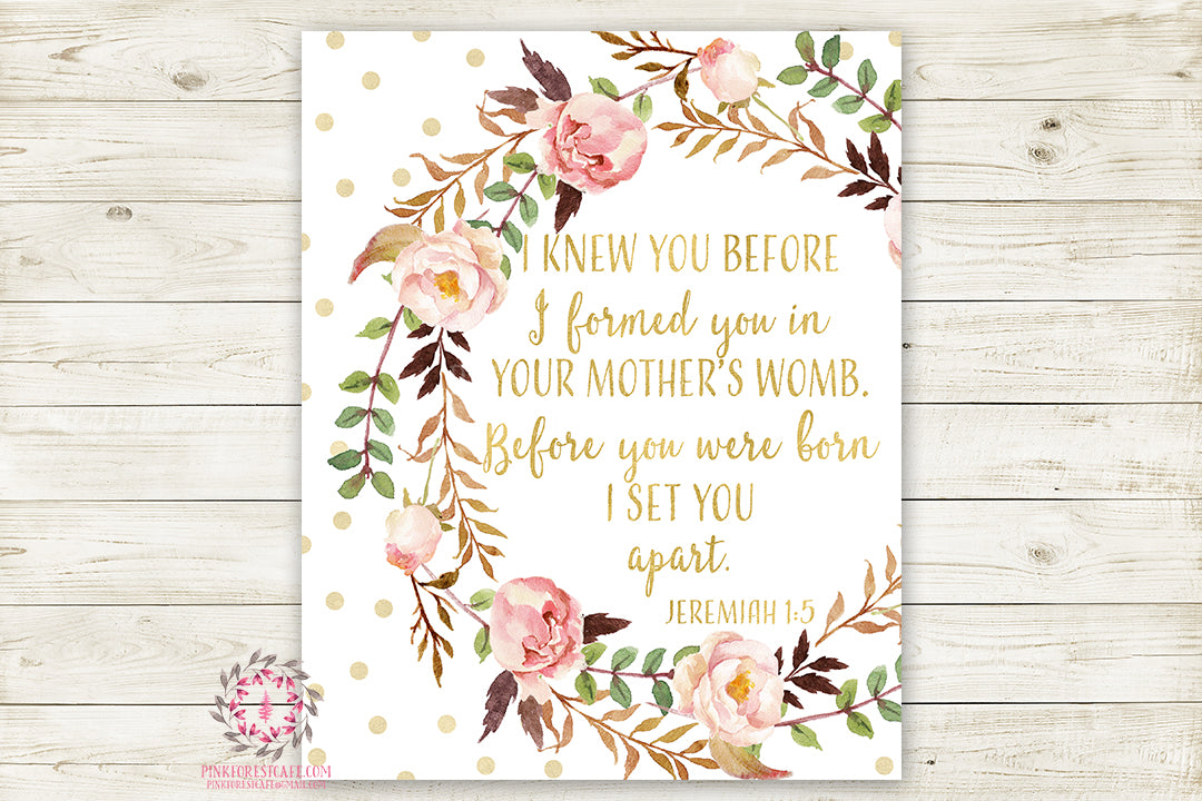 Boho I Knew You Before Jeremiah 1:5 Wall Art Print Baby Nursery Bible Verse Home Printable Decor
