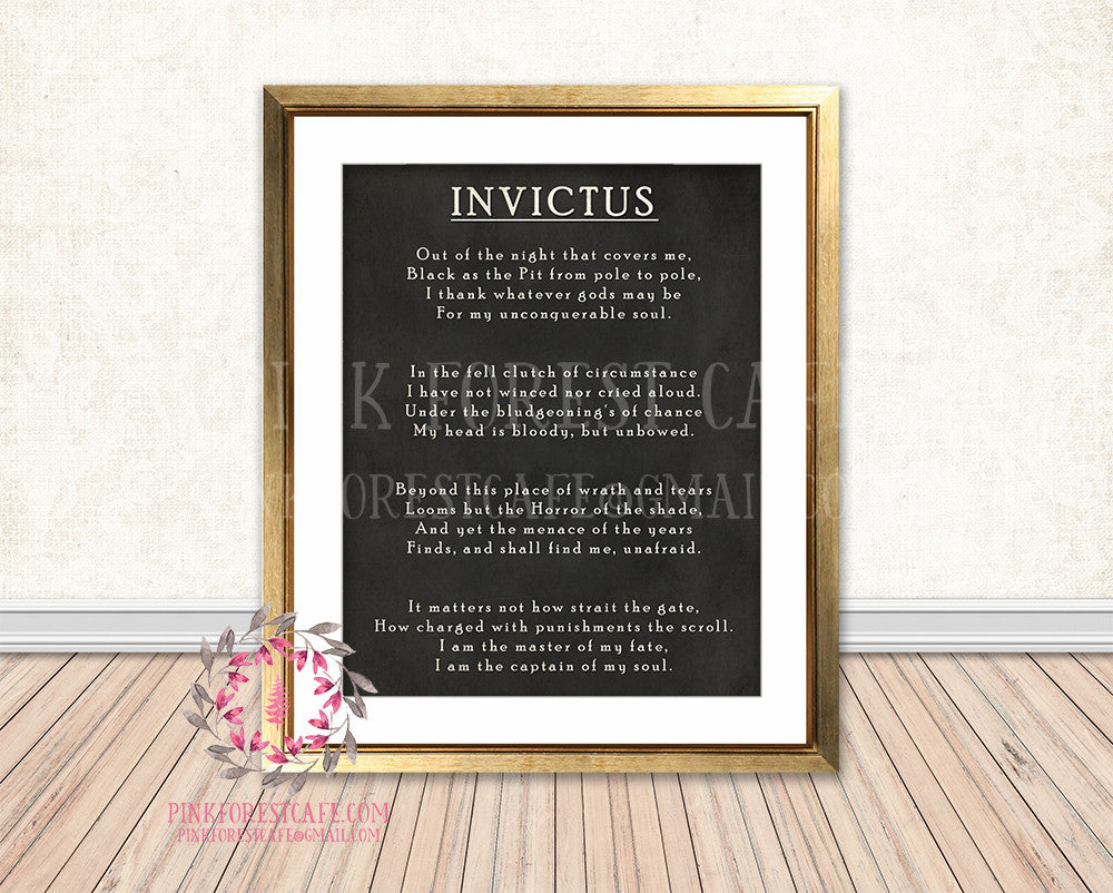Invictus Poem Boho Chalkboard Printable Print Wall Art Home Decor