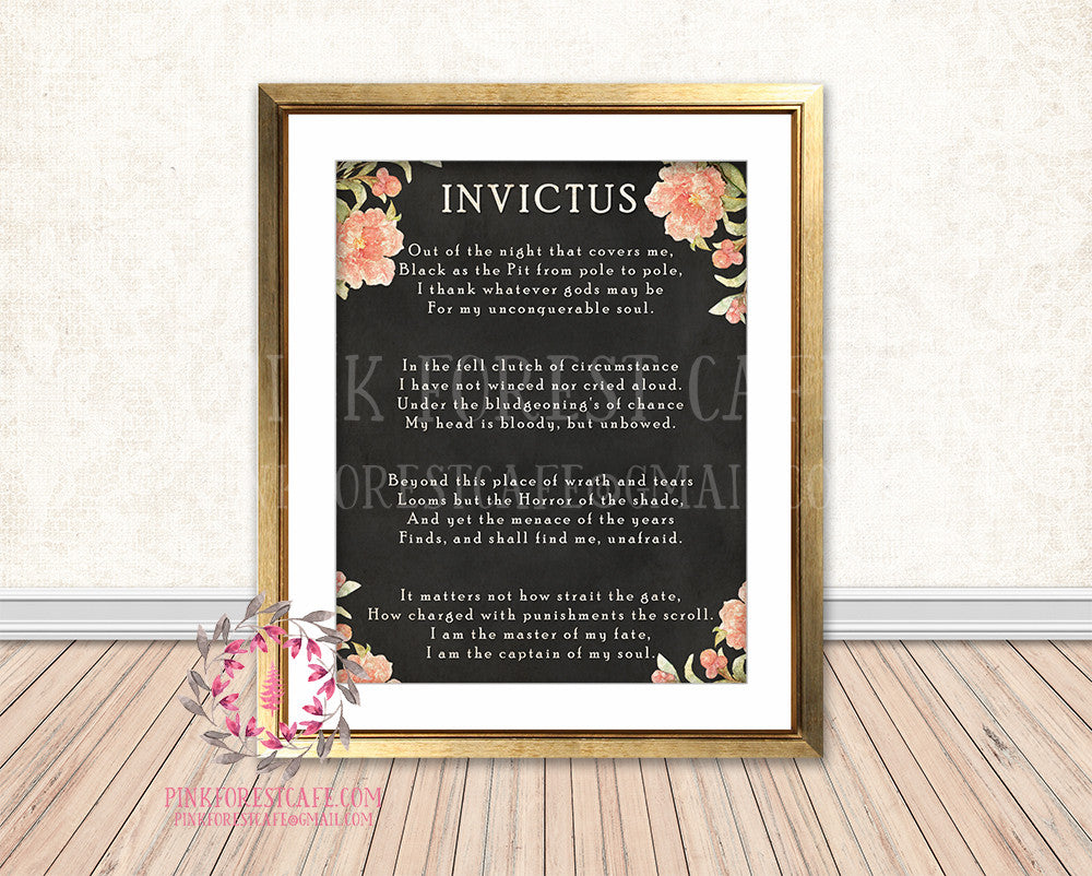 Invictus Poem Boho Floral Chalkboard Printable Print Wall Art Home Decor