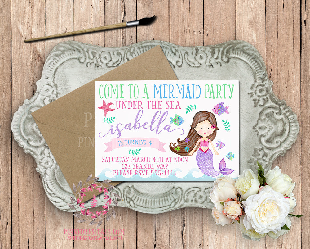 Mermaid Theme Girls Birthday Party Baby Bridal Shower Printable Invitation Invite
