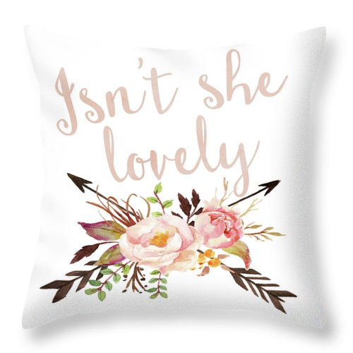 Isn't She Lovely Boho Arrow Watercolor Blush Baby Girl Nursery Throw Pillow