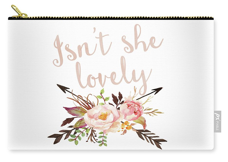 Isn't She Lovely Boho Arrow Watercolor Blush Carry All Zipper Pouch Make Up Diaper Bag Insert