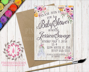 Boho Teepee Baby Bridal Shower Birthday Party Feather Tribal Printable Invitation Invite Announcement
