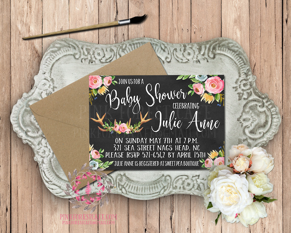 Baby Bridal Shower Invites Birthday Party Invitation Announcement Invite Deer Antlers Chalkboard Woodland Watercolor Floral Rustic Printable Art Stationery Card