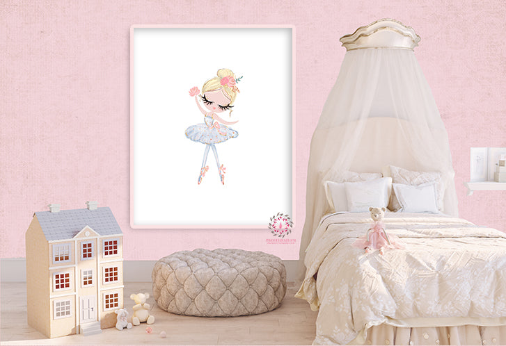 Ballerina Baby Girl Nursery Wall Art Print Ethereal Ballet Dancer Whimsical Pink Gold Bohemian Floral Balloons Minimalist Printable Decor