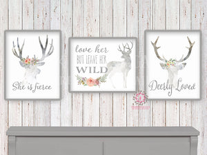 She Is Fierce Love Her But Leave Her Wild Deer Woodland Boho Print Wall Art Nursery Baby Girl Room Bohemian Watercolor Floral Printable Set 3 Decor