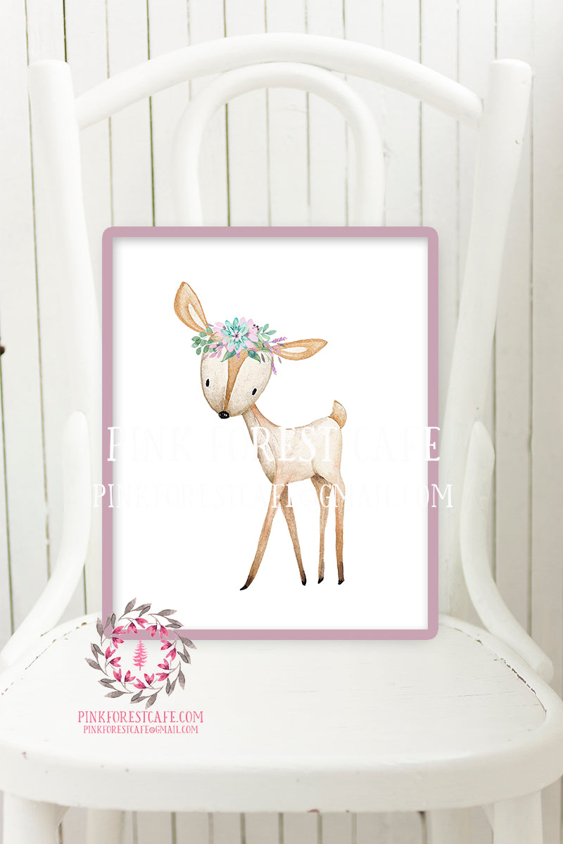 Boho Deer Nursery Wall Art Print Woodland Printable Prints Watercolor Purple Aqua Flowers Floral Bohemian Baby Girl Room Kids Bedroom Decor