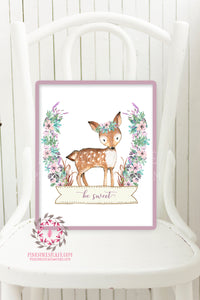 Boho Deer Woodland Nursery Printable Wall Art Print Purple Aqua Be Sweet Floral Baby Girl Room Decor