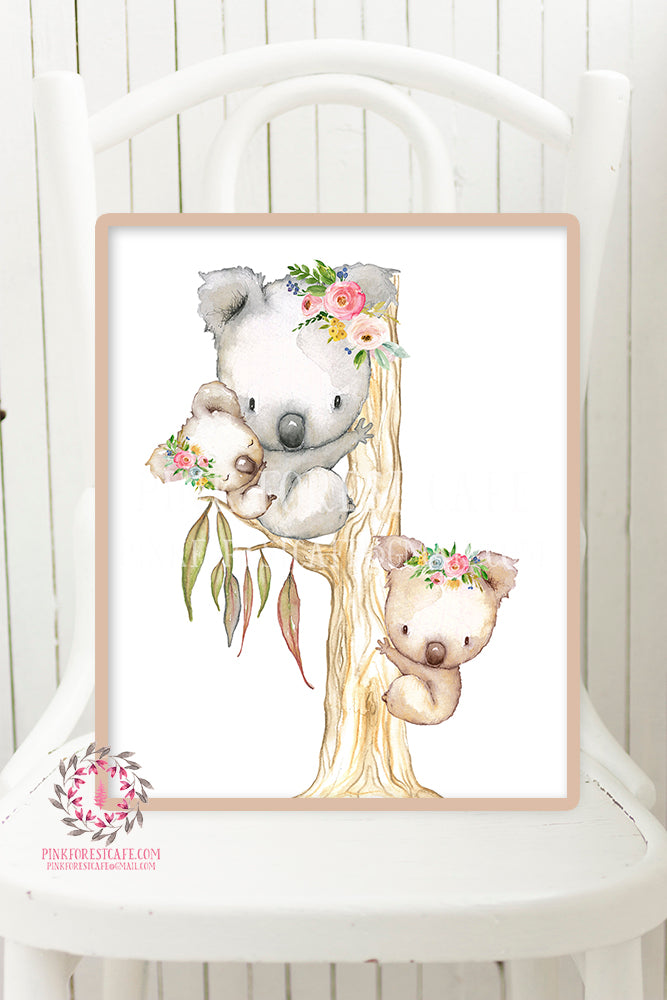 Koala Australian Boho Baby Watercolor Printable Print Wall Art Floral Nursery Baby Girl Room Decor