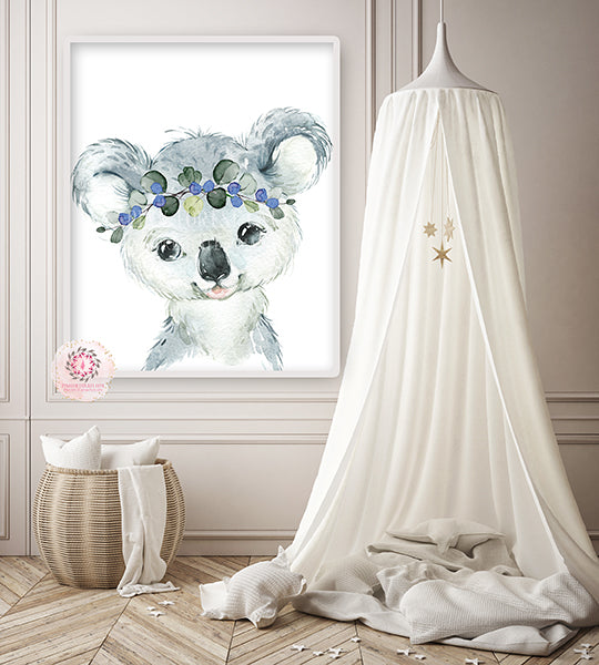 Set of 4 Woodland Animal Nursery Prints Pictures For Boys Girls Bedroom Neutral