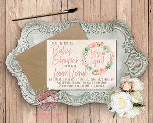 Woodland Watercolor Tribal Floral Feathers Theme Baby Bridal Shower Birthday Party Printable Invitation Invite