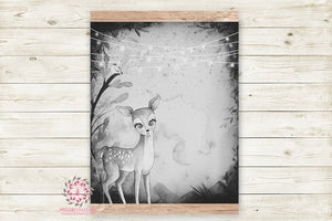 "Ethereal Woodland Boho Deer & Bird Nursery Wall Art Print Baby Boy Girl Monochrome Black White Rustic ""Lenny"" Printable Watercolor Mystery Fantasy Magical Decor"