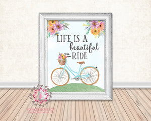 Life Is A Beautiful Ride Bicycle Bike Basket Floral Boho Printable Print Wall Art Home Decor