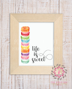 Life Is Sweet Printable Wall Art Print Macaroon Nursery Home Decor