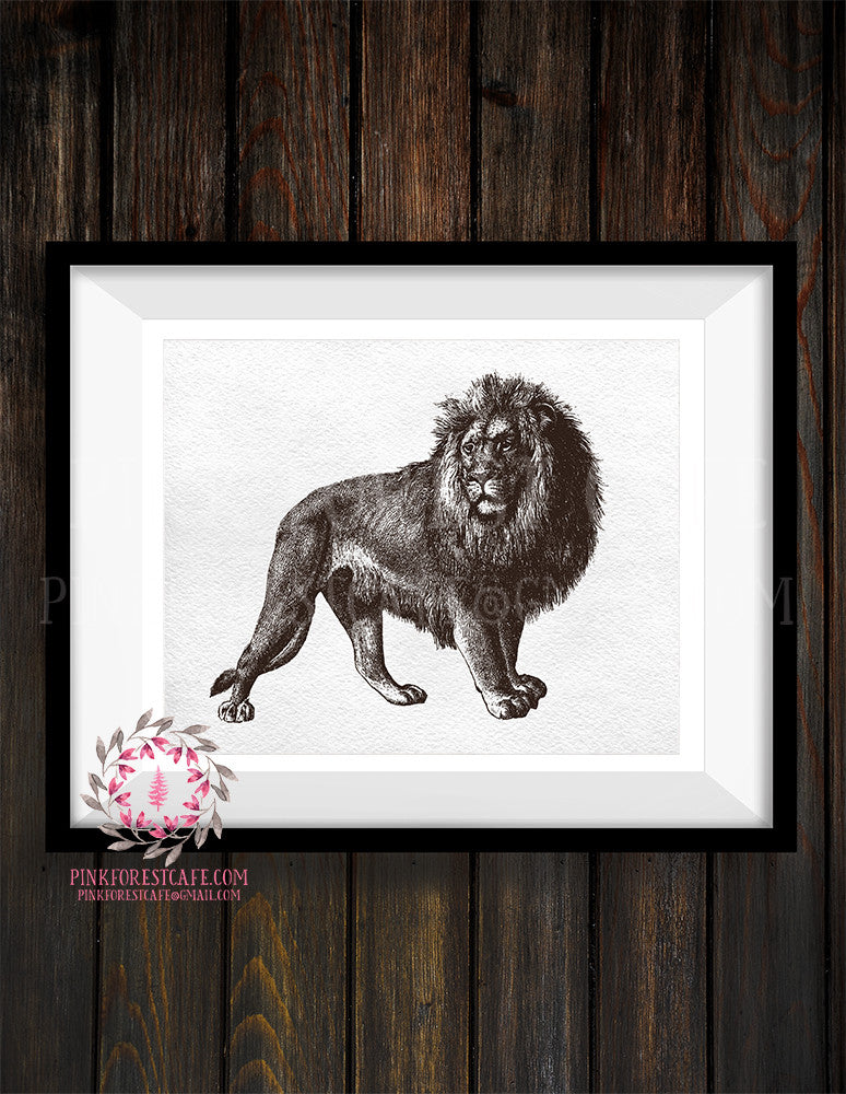 Lion ZOO Safari Sketch Nursery Kids Baby Room Print Printable Wall Art Print Home Decor