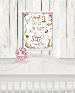 And Though She Be But Little She Is Fierce Woodland Boho Nursery Decor Baby Girl Wall Art Watercolor Printable Print
