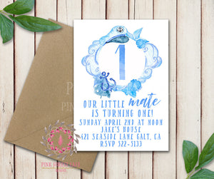 Baby Boy Little Captain Mate Nautical 1st 2nd 3rd 4th 5th Boho Summer Swim Birthday Party Invitation Announcement Invite Watercolor Printable Art Stationery Card