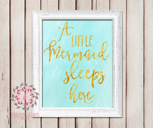 A Little Mermaid Sleeps Here Nursery Baby Girl Nautical Room Printable Print Wall Poster Sign Art Home Decor