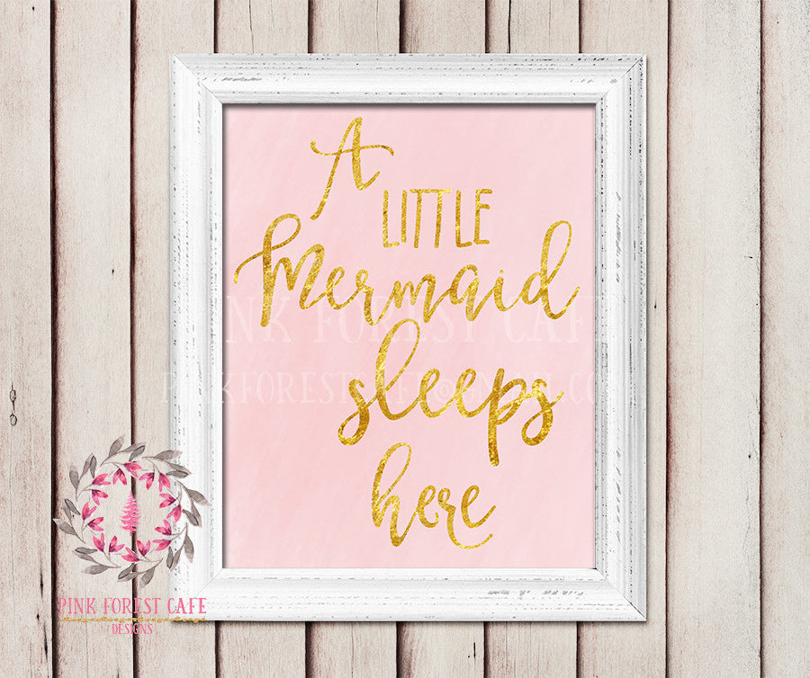A Little Mermaid Sleeps Here Nursery Baby Girl Pink Nautical Room Printable Print Wall Poster Sign Art Home Decor