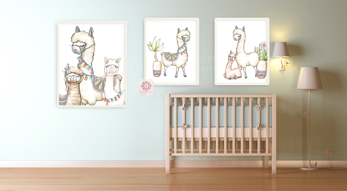 3 Alpaca Llama Watercolor Baby Nursery Wall Art Print Kids Room Playroom Poster Printable Home Decor