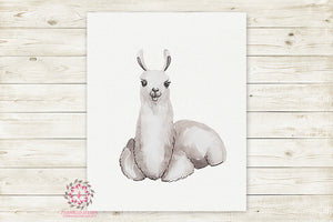 Llama Alpaca Watercolor Baby Nursery Wall Art Print Kids Room Playroom Poster Printable Home Decor