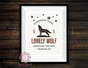 Lonely Wolf Adventure Rustic Woodland Nursery Baby Boy Room Prints Printable Print Wall Art Decor