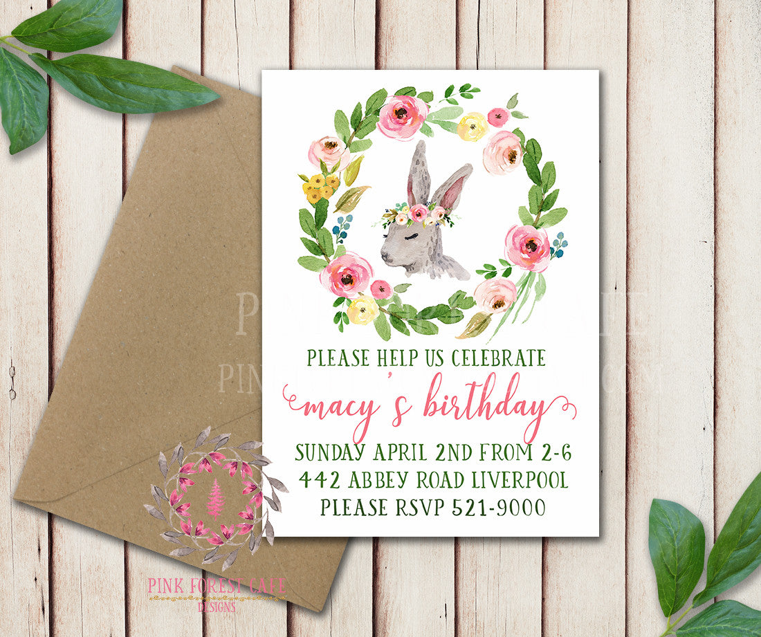 Bunny Rabbit Woodland Easter Baby Girl Boho Garden Floral Birthday Party Baby Bridal Shower Invitation Announcement Invite Watercolor Printable Art Stationery Card