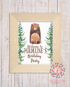 Personalized Woodland Bear Welcome to Birthday Party Baby Bridal Shower Supply Decor Printable Sign Poster Print Wall Art