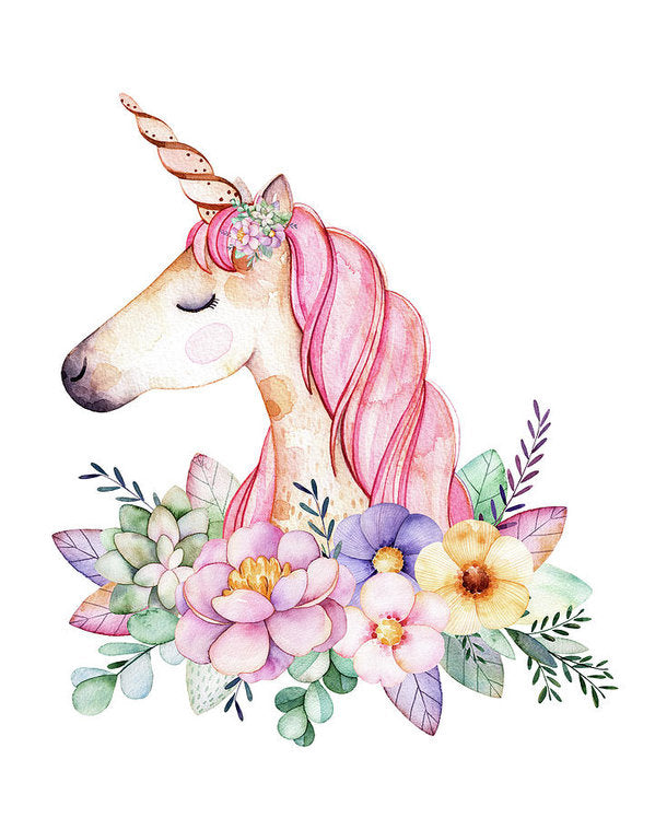 Magical Watercolor Unicorn Boho Wall Art Print Baby Girl Nursery Fantasy Home Bedroom Kids Room Decor