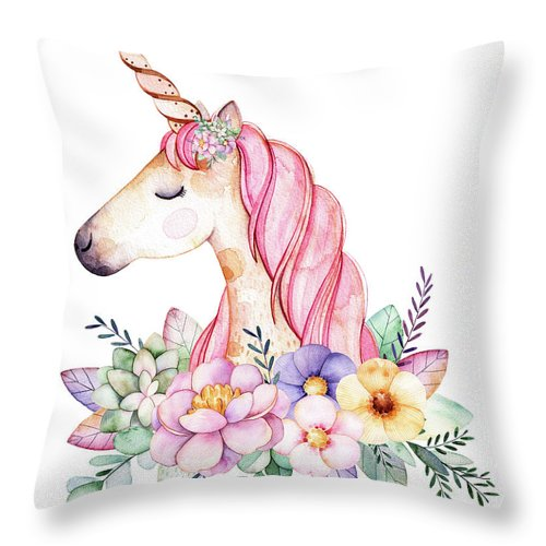 Magical Watercolor Unicorn Baby Girl Nursery Bedroom Room Throw Pillow