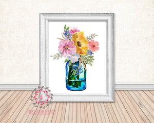 Mason Jar Watercolor Floral Boho Printable Print Wall Art Home Decor