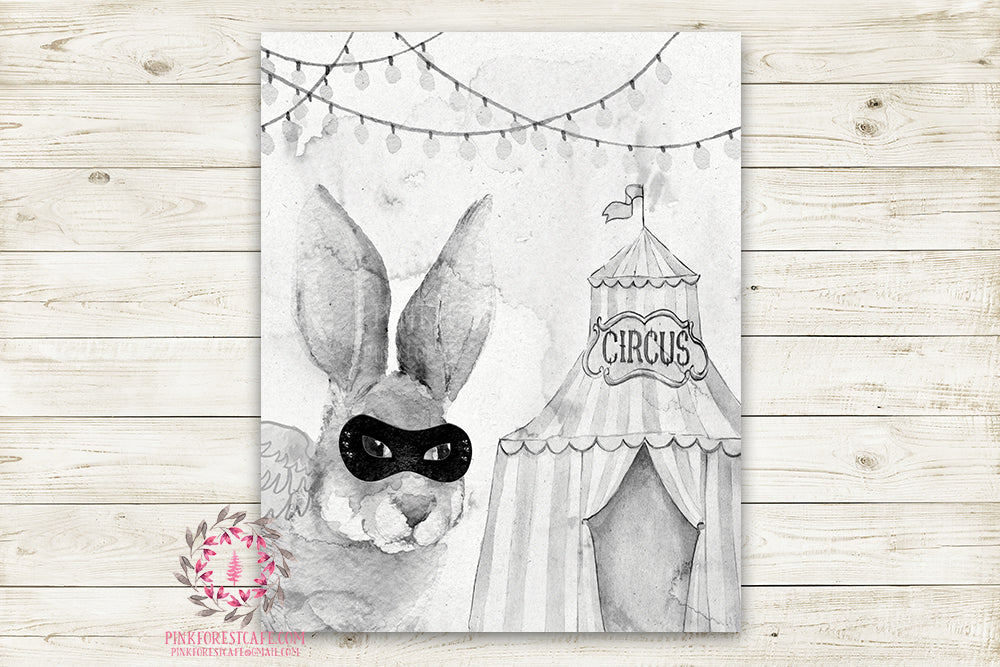 "Superhero Ethereal Woodland Bunny Nursery Wall Art Print Baby Girl Boy Rustic Circus  ""Master Jake"" Printable Watercolor Mystery Fantasy Magical Amusement Park Carnival Decor"