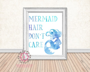 Mermaid Hair Don't Care Watercolor Nautical Printable Print Wall Art Home Nursery Home Decor
