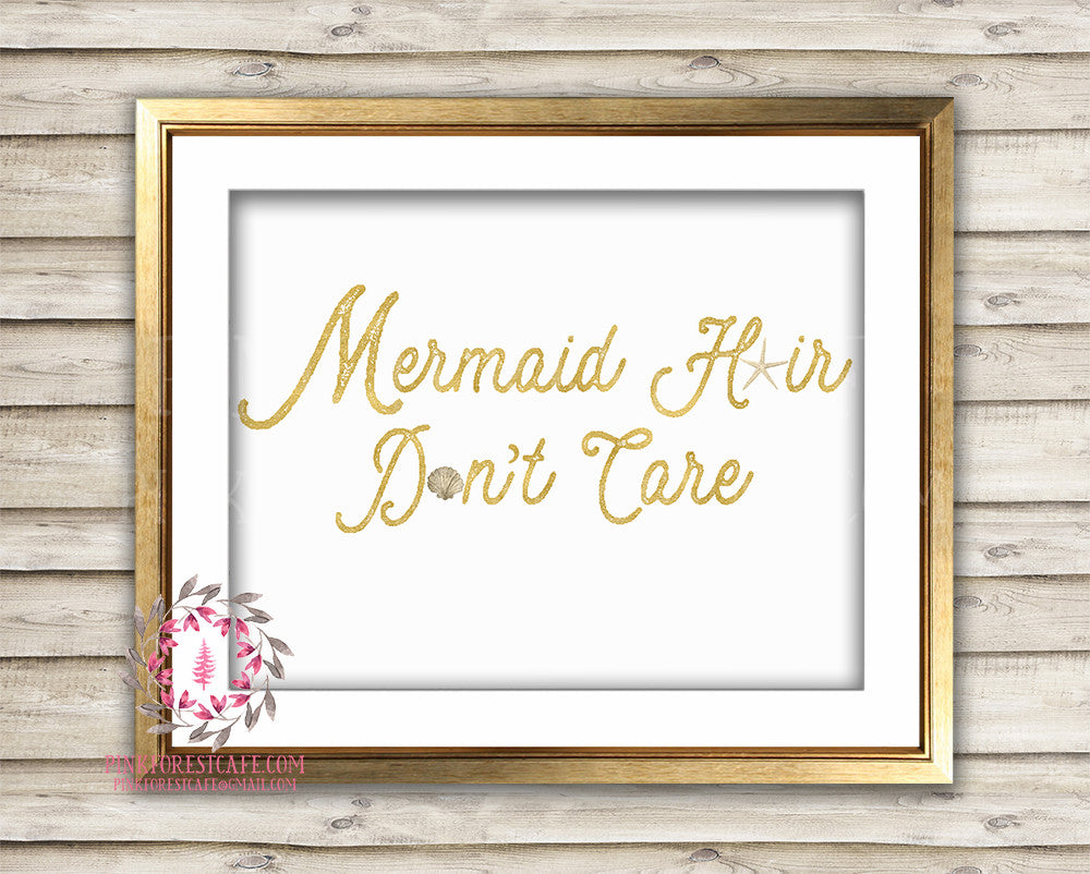 Mermaid Hair Don't Care Starfish Shell Gold Printable Wall Art Nursery Print Decor