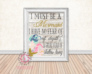 Mermaid Nautical Printable Print Wall Art Poster Home Nursery Home Decor