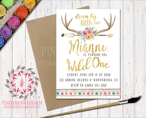 Boho Antlers Arrow Floral Watercolor Woodland Invitation Baby Bridal Shower Wild One 1st Birthday Party Printable Invite