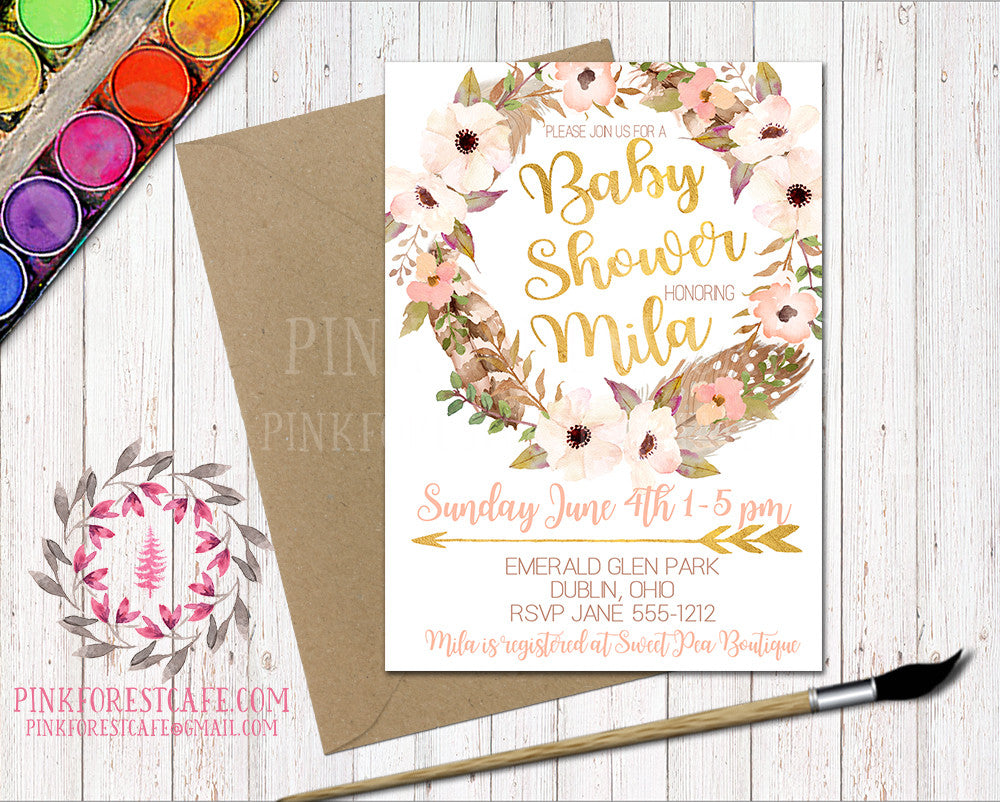 Boho Baby Bridal Shower Birthday Party Invitation Invite Feathers Woodland Watercolor Floral Printable
