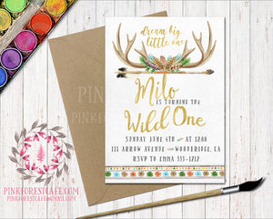 Boho Deer Antler Watercolor Woodland Invitation Baby Bridal Shower Wild One 1st Birthday Party Printable Invite