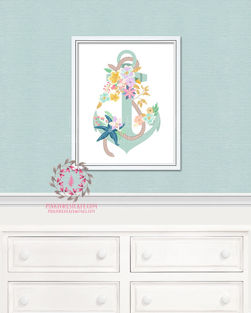 Anchor Floral Nautical Printable Print Wall Art Home Nursery Home Decor