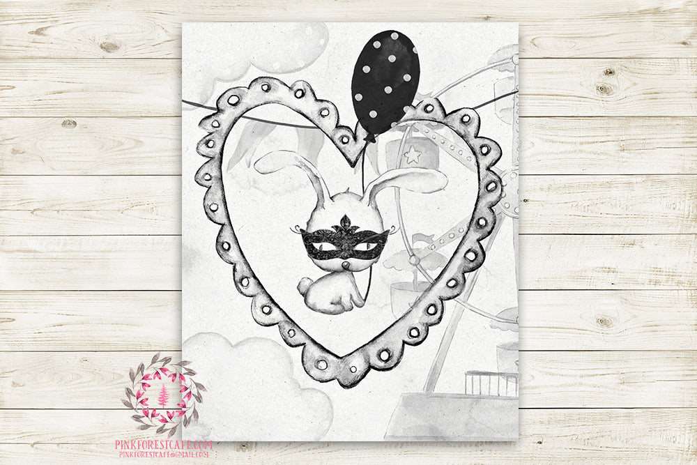 "Monochrome Superhero Bunny Rabbit Nursery Wall Art Print Ethereal Amusement Park Black White Woodland Rustic Swing  ""Miss Brook"" Boho Printable Watercolor Mystery Fantasy Magical Carnival Circus Decor"
