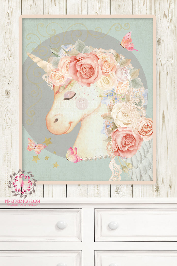 Miss Lolly Unicorn Nursery Wall Art Print Boho Bohemian Baby Blush Ethereal Room Kids Bedroom Home Limited Edition Decor