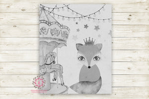 "Boho Fox Monochrome Nursery Wall Art Print Baby Girl Ethereal ""Miss Molly"" Black White Rustic Printable Watercolor Mystery Fantasy Magical Carnival Decor"