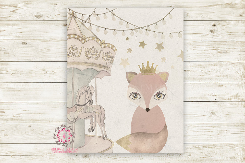 "Boho Fox Monochrome Nursery Wall Art Print Baby Girl Ethereal ""Miss Molly"" Rustic Printable Watercolor Mystery Fantasy Magical Carnival Decor"