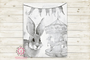 "Ethereal Woodland Boho Bunny Nursery Wall Art Print Baby Girl Carousel Horses Black White Rustic ""Miss Potter"" Printable Watercolor Mystery Fantasy Magical Circus Amusement Park Carnival Decor"