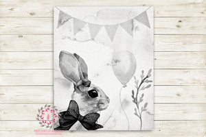 "Ethereal Woodland Boho Bunny Nursery Wall Art Print Baby Girl Rustic Balloon Black White ""Miss Seraphina"" Printable Watercolor Mystery Fantasy Magical Circus Amusement Park Carnival Decor"