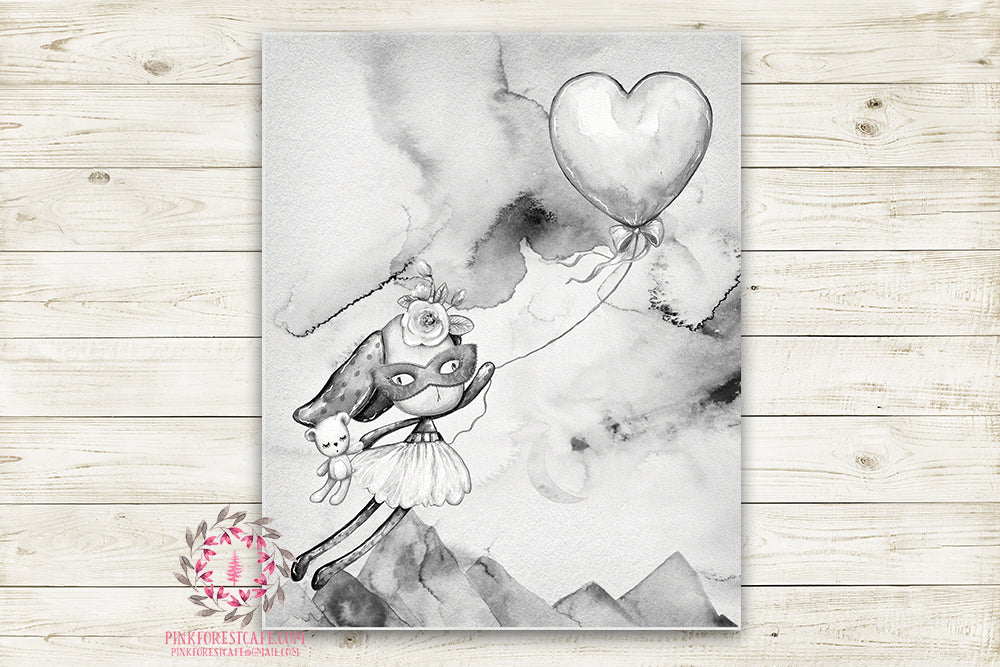"Ethereal Woodland Boho Bunny Superhero Nursery Wall Art Print Baby Girl Rustic Balloon Bkack White ""Miss Skyler Masked"" Printable Watercolor Mystery Fantasy Magical Decor"
