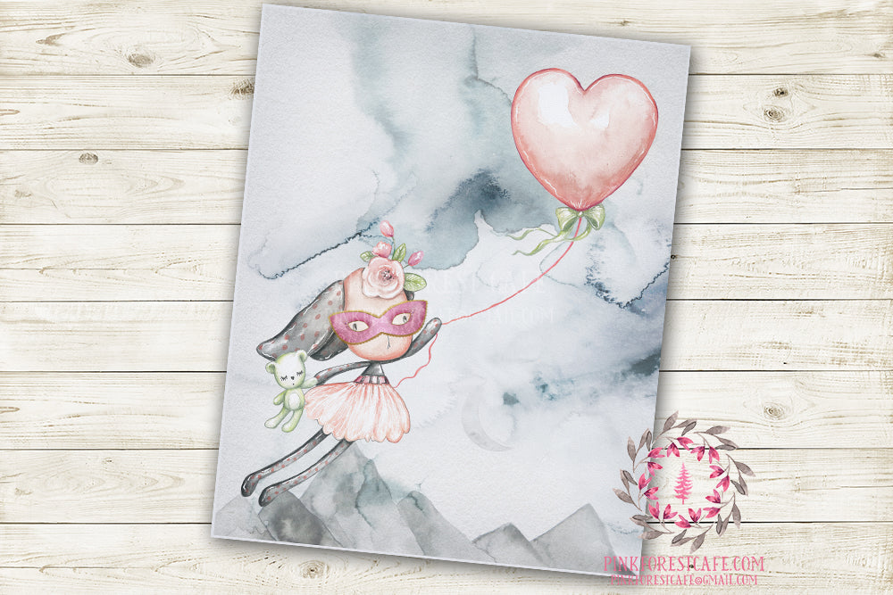 "Ethereal Woodland Boho Bunny Nursery Wall Art Print Baby Girl Rustic Balloon ""Miss Skyler Masked"" Printable Watercolor Mystery Fantasy Magical Decor"